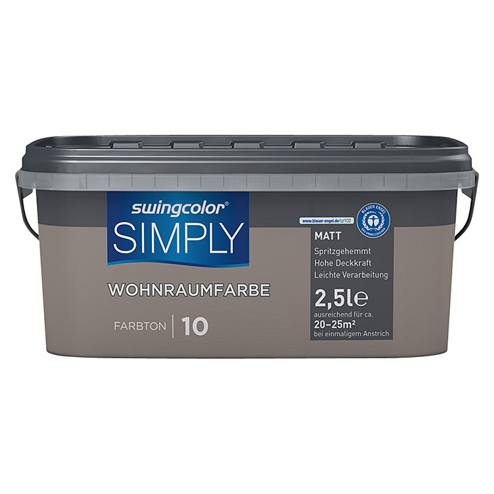 swingcolor Wandfarbe SIMPLY (Braun - Nr. 10, 2,5 l, Matt) -