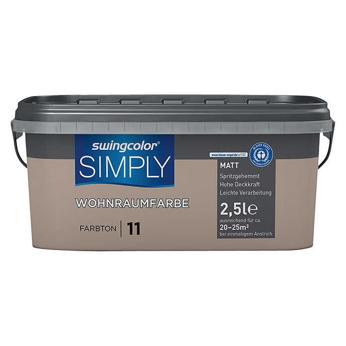 swingcolor Wandfarbe SIMPLY (Braun - Nr. 11, 2,5 l, Matt) -
