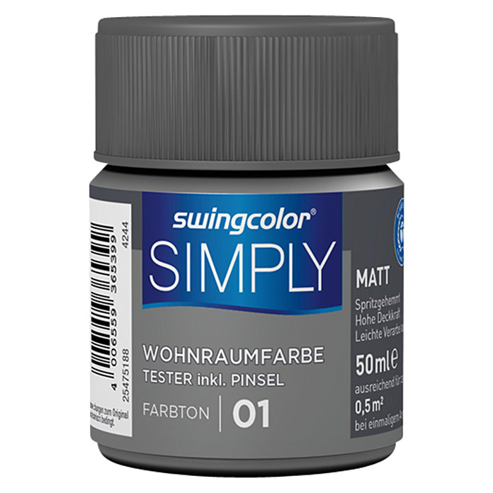 swingcolor Wandfarbe SIMPLY Tester (Grau - Nr. 01, 50 ml, Matt)