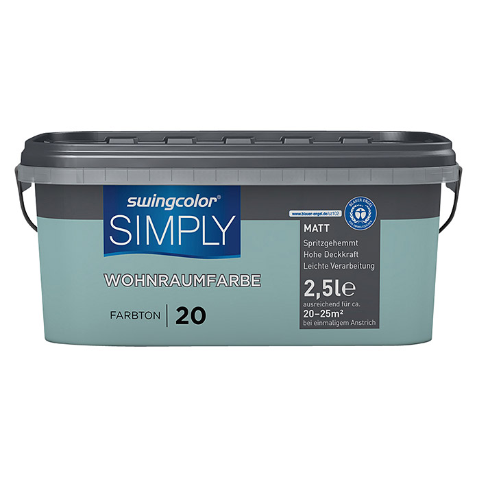 swingcolor Wandfarbe SIMPLY (Blau - Nr. 20, 2,5 l, Matt)
