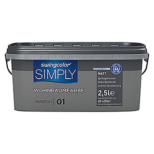swingcolor Wandfarbe SIMPLY (Grau - Nr. 01, 2,5 l, Matt)