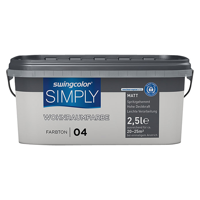 swingcolor Wandfarbe SIMPLY (Grau - Nr. 04, 2,5 l, Matt)