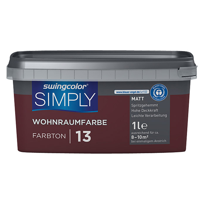 swingcolor Wandfarbe SIMPLY (Rot - Nr. 13, 1 l, Matt) -