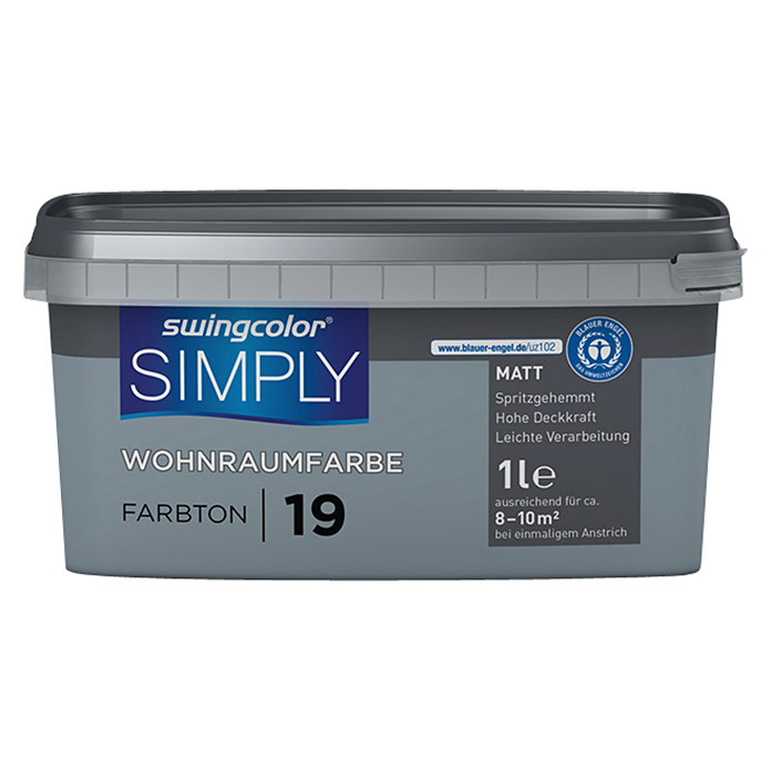 swingcolor Wandfarbe SIMPLY (Blau - Nr. 19, 1 l, Matt)