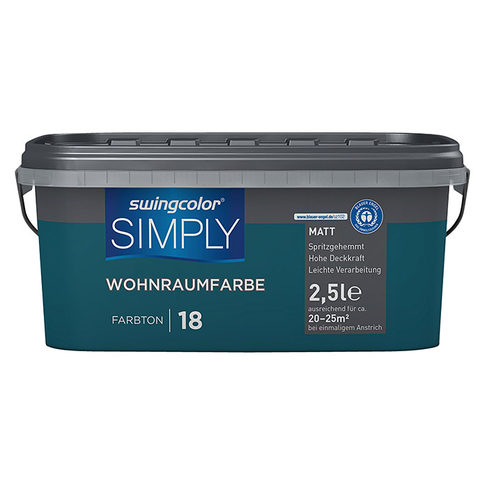 swingcolor Wandfarbe SIMPLY (Blau - Nr. 18, 2,5 l, Matt)