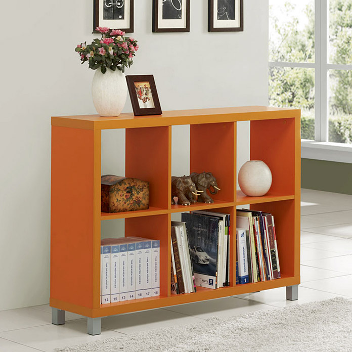 Estanter a kubox 6 huecos 110 x 29 x 76 cm naranja for Estanteria bano bauhaus