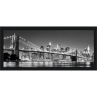 Gerahmtes Bild Oversized (Night-Bridge, 124 x 50 cm, Schwarz)