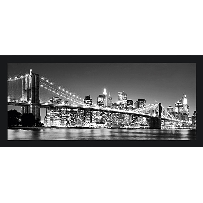 Gerahmtes Bild Oversized (Night-Bridge, 124 x 50 cm)