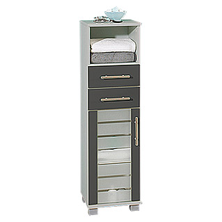 Schildmeyer Niko Highboard HBA300 (32,5 x 30 x 110,5 cm, Silber/Anthrazit)
