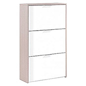 Zapatero Blanco y Roble (L x An x Al: 22 x 60 x 113 cm, Natural/Blanco)