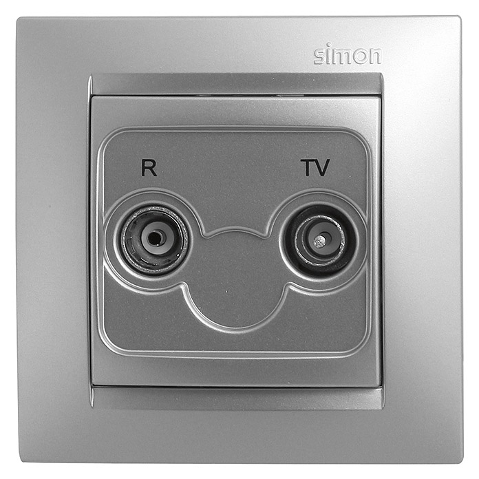 Simon 15 Toma TV (Aluminio, 2 canales, En pared)