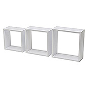Duraline Set de estantes de pared 3TC (Blanco, Carga soportada: 5 kg, Cuadrado con bordes rectangulares)