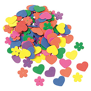 Glorex Moosgummi-Set (Herz/Blume, 140 Stk.)
