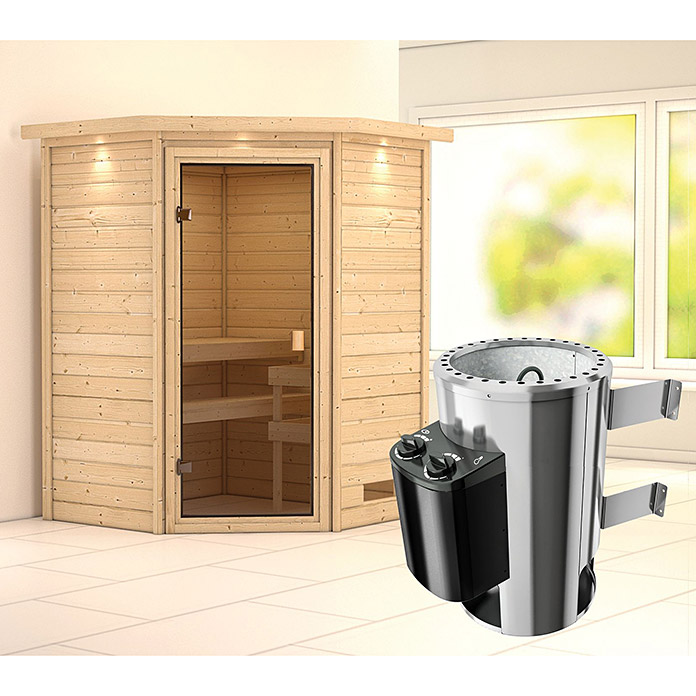 karibu 230 v massivholzsauna alicja mit 3 6 kw saunaofen mit integrierter steuerung 144 x 144. Black Bedroom Furniture Sets. Home Design Ideas