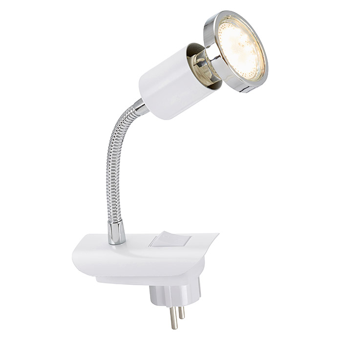 Briloner Enchufe con luz LED (3 W, Blanco, L x An x Al: 6,5 x 17 x 12 cm)
