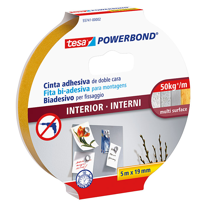Tesa Powerbond Cinta de doble cara Interior (5 m x 19 mm)