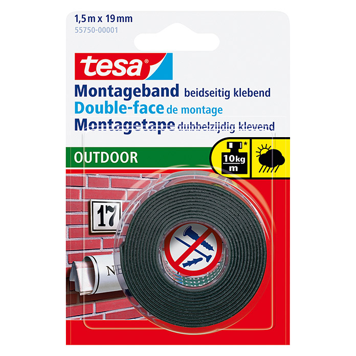 Tesa Powerbond Cinta de doble cara Outdoor (1,5 m x 19 mm)