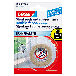 tesa Powerbond Cinta de doble cara Transparente (1,5 m x 19 mm)