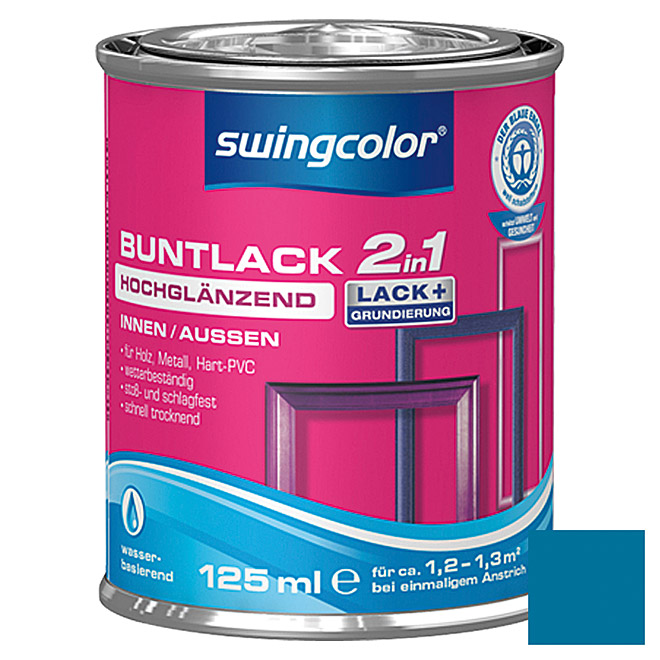 swingcolor 2in1 Buntlack  (Enzianblau, 125 ml)