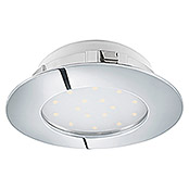 Eglo Foco downlight LED empotrable Pineda 95875 Cromo (12 W, Color de luz: Blanco cálido, 102 x 102 mm, Color: Cromo)
