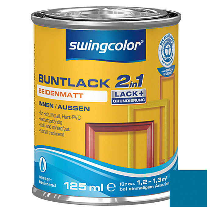 swingcolor 2in1 Buntlack (Enzianblau, 125 ml, Seidenmatt)