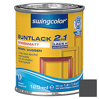 swingcolor 2in1 Buntlack (Schwarz, 125 ml, Seidenmatt)