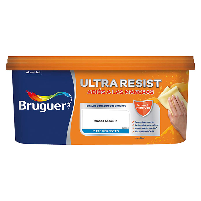 Bruguer Ultra Resist Pintura para paredes Blanco absoluto (4 l, Mate)