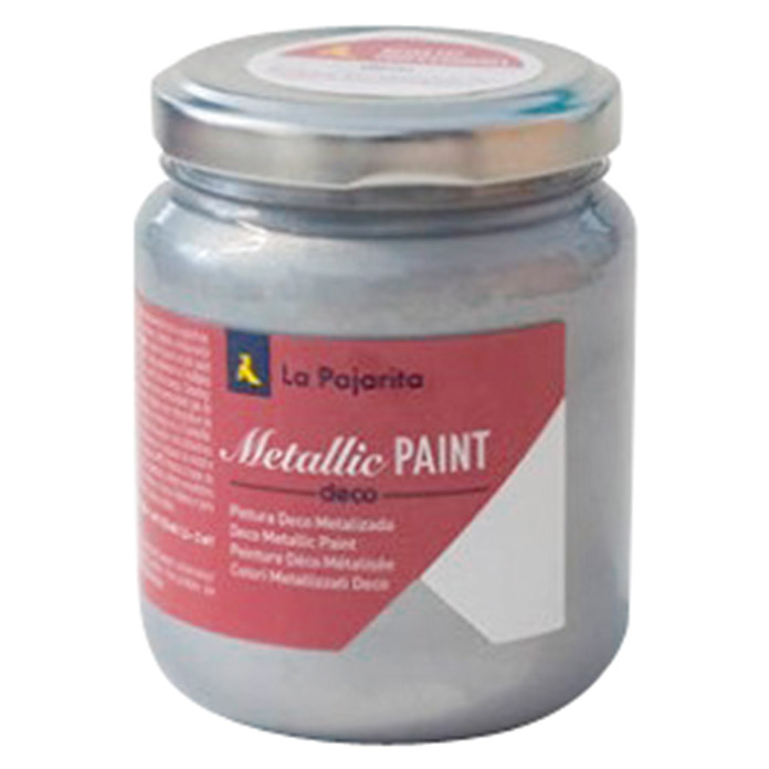 La Pajarita Pintura Metallic Paint silver  (175 ml, Brillante)