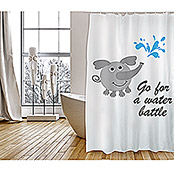 Venus Cortina de baño textil Water Battle (An x Al: 180 x 200 cm, Blanco)