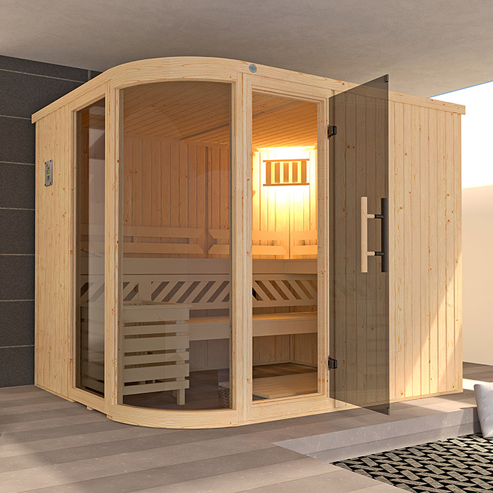 weka elementsauna sara 2 mit 9 kw bio ofen mit externer. Black Bedroom Furniture Sets. Home Design Ideas