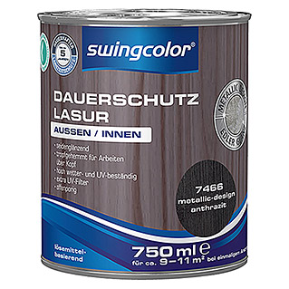 swingcolor Dauerschutzlasur Metallic Design (Anthrazit, 750 ml, Seidenglänzend)