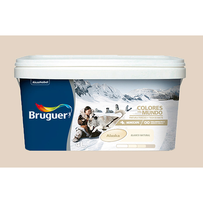 Bruguer Pintura para pared y techo Colores del mundo Alaska blanco luminoso (4 l, Mate)