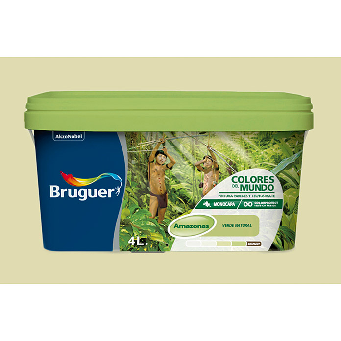 Bruguer Pintura para pared y techo Colores del mundo Amazonas verde intermedio (4 l, Mate)