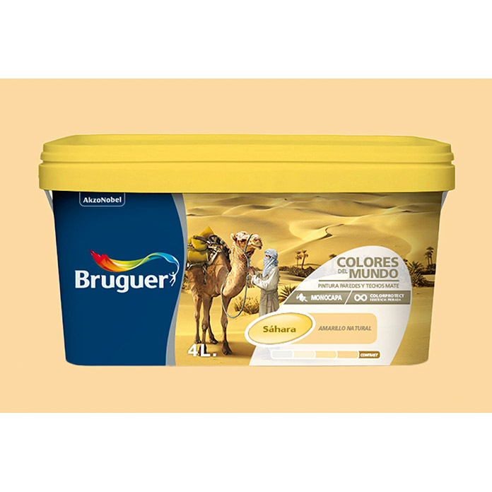Bruguer Pintura para pared y techo Colores del mundo Sáhara amarillo intermedio (4 l, Mate)