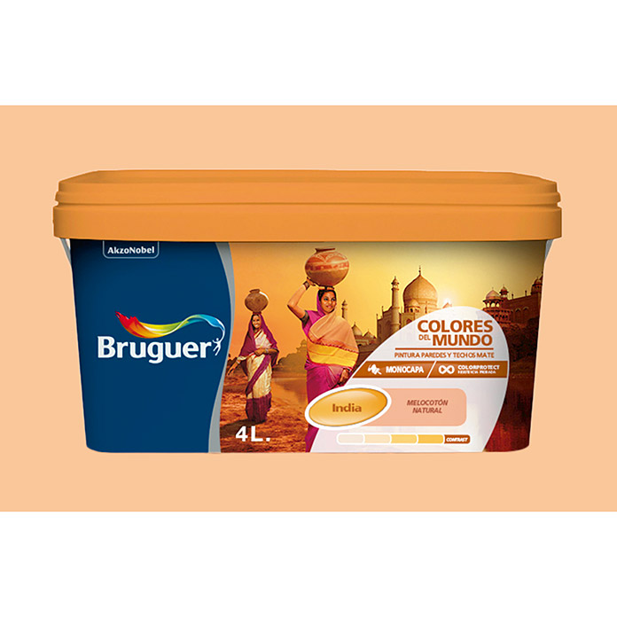 Bruguer Pintura para pared y techo Colores del mundo India melocotón intermedio (4 l, Mate)