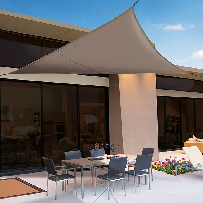 Toldo vela Sun-Net Kit Triangular (360 x 360 cm, Poliéster 165 g/m², Marrón, Ojales integrados)