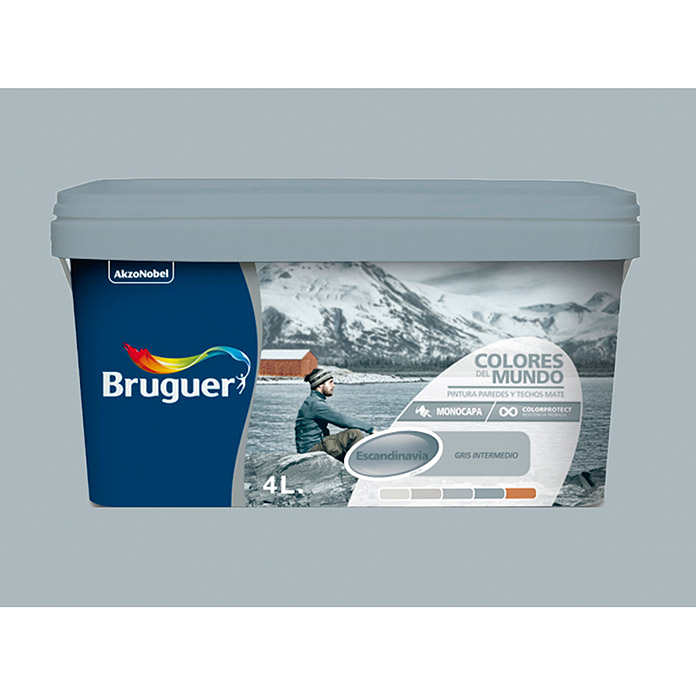 Bruguer Pintura para pared y techo Colores del mundo Escandinavia gris intermedio (4 l, Mate)