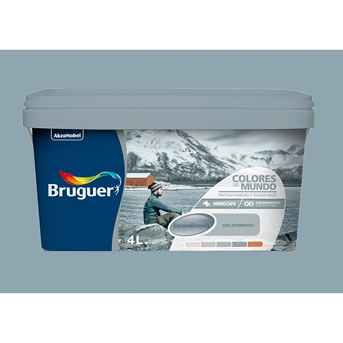 Bruguer Pintura para pared y techo Colores del mundo Escandinavia gris natural (4 l, Mate)