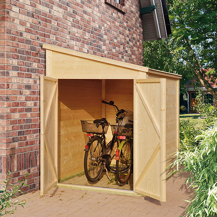 fahrradgarage bikebox 2 15 x 1 59 m geeignet f r 2 fahrr der 7435 blockbohlenhaeuser. Black Bedroom Furniture Sets. Home Design Ideas