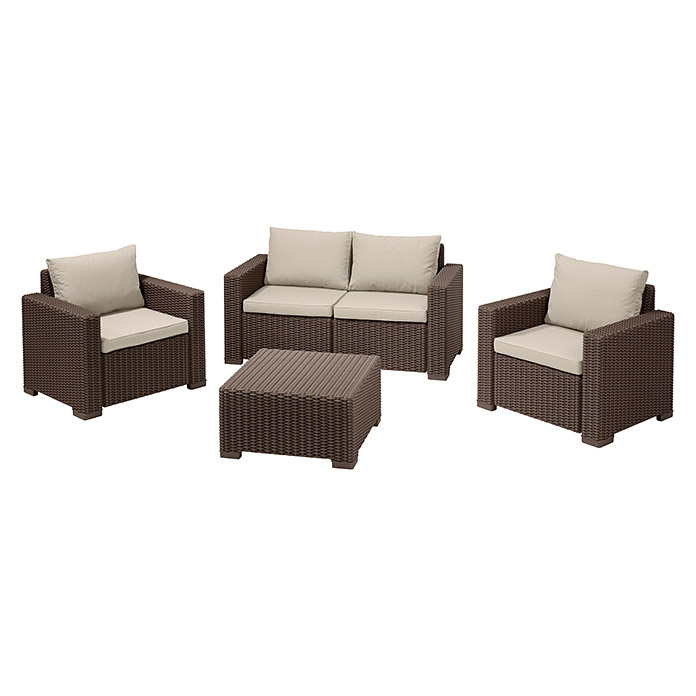 Allibert Loungemöbel-Set California (4-tlg., 2 Sessel, 2-Sitzer-Sofa ...