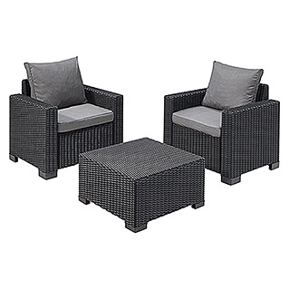 Allibert Loungemöbel Set California (3 Tlg., 2 Sessel, 1 Beistelltisch