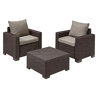 Allibert Loungemöbel-Set California (3-tlg., 2 Sessel, 1 Beistelltisch, Braun)