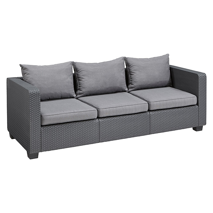 Allibert Loungemöbel-Set Salta (4-tlg., Anthrazit, 3-Sitzer-Sofa)