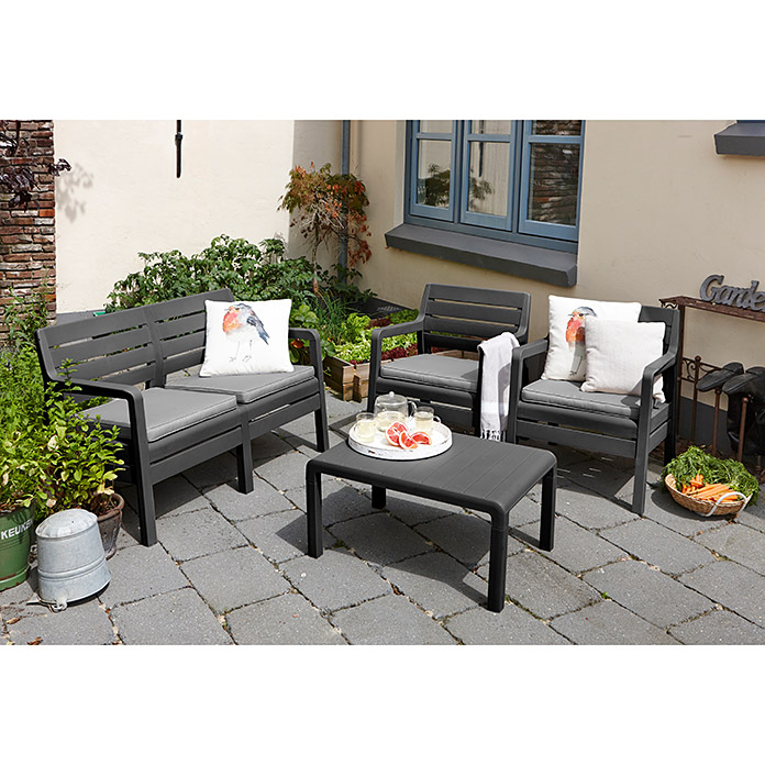 allibert gartenm bel set delano 4 tlg polypropylen anthrazit 8303 loungeset icdg. Black Bedroom Furniture Sets. Home Design Ideas