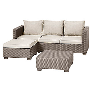 Allibert Loungemöbel-Set Malibu (3-tlg., Polypropylen, Cappuccino)