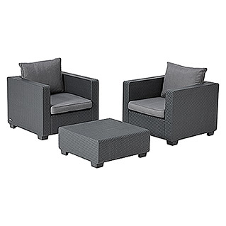 Allibert Loungemöbel-Set Salta (3-tlg., 2 Sessel, 1 Beistelltisch, Anthrazit)