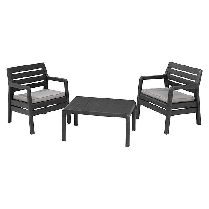 allibert gartenm bel set delano 3 tlg polypropylen anthrazit bauhaus. Black Bedroom Furniture Sets. Home Design Ideas