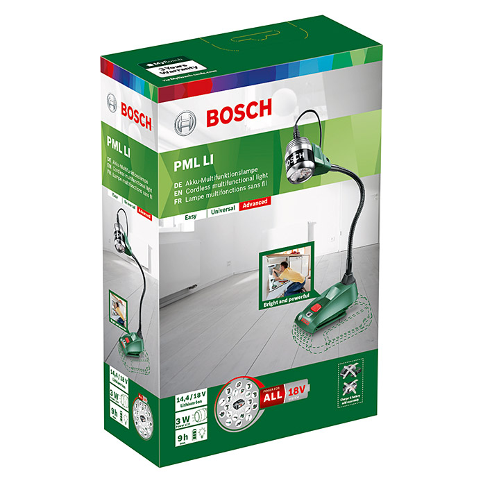 bosch akku lampe pml li passend f r bosch 14 4 v 18 v akkus ohne akku lichtstrom 270 lm. Black Bedroom Furniture Sets. Home Design Ideas