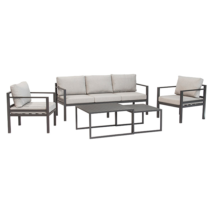 sunfun loungem bel set malibu 5 tlg aluminium grau bauhaus sterreich. Black Bedroom Furniture Sets. Home Design Ideas