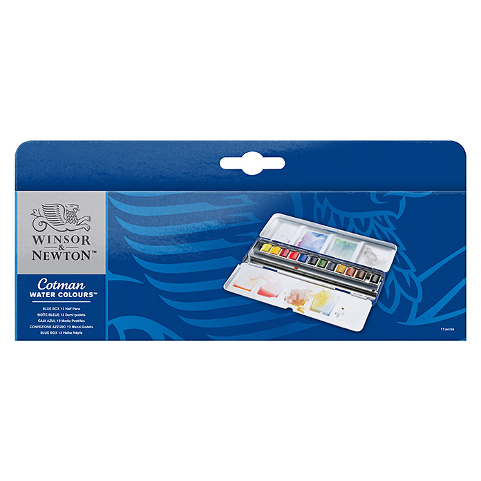 Winsor & Newton Cotman Aquarellfarben-Set Blue Box (12 x ½ Näpfchen) -